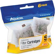 All Glass Aquarium Aqueon Filter Cartridge Small 6 Pack