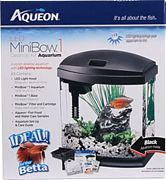 Aqueon Led Mini Bow Aquarium Kit Black 1 Gallon