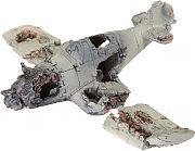 Bio Bubble Crashed Zero Plane Aquarium Ornament Gray 4.7x12x7 Inch