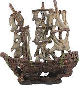 Bio Bubble Mystery Pirate Ship Aquarium Ornament Brown/Gray 17x6.25x9.75 In