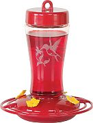 Homestead Glass Hummingbird Feeder, Red Base, Clear Glass