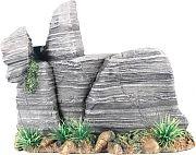 Poppy Pagoda Rock Formation With Plant Grey 8x4x6