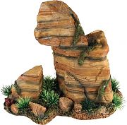 Poppy Stone Rock Formation With Plant Red 9x5x8