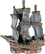 Poppy Sunken Pirate Ship With Blue Sails 17x6x17
