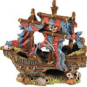 Poppy Sunken Pirate Ship With Red And Blue Sails 9x4x9