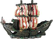 Poppy Sunken Pirate Ship With Red/White Sails 10x3x7