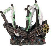 Poppy Sunken Pirate Ship With Torn Sails White 10x4x11